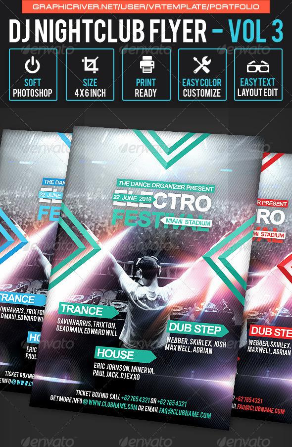 DJ NightClub Flyer Volume 3 - Clubs & Parties Events
