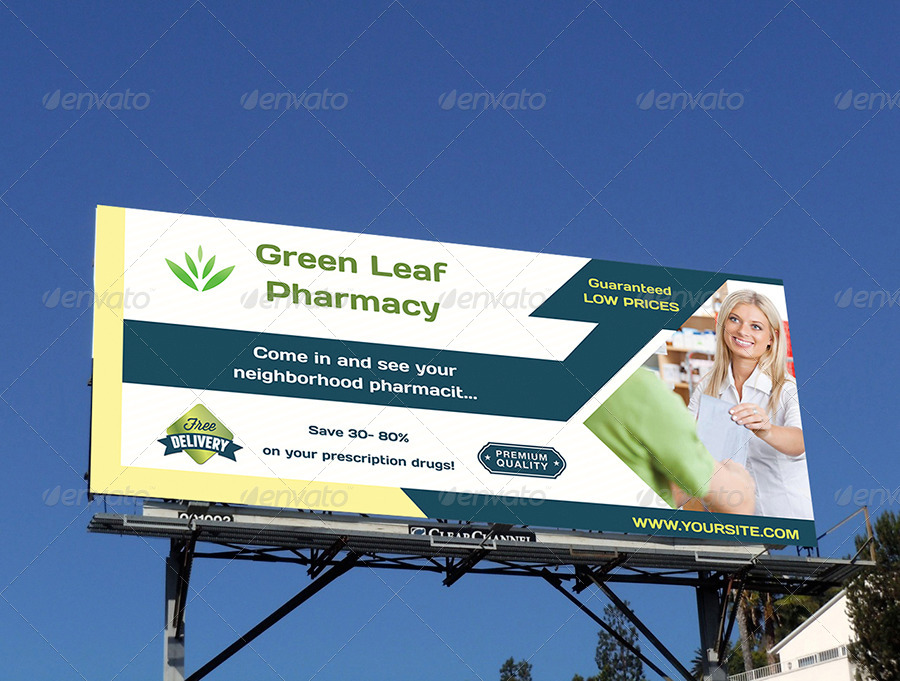 pharmacy billboard template by owpictures graphicriver. Black Bedroom Furniture Sets. Home Design Ideas