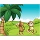 Two Monkeys Near a Coconut Tree - GraphicRiver Item for Sale
