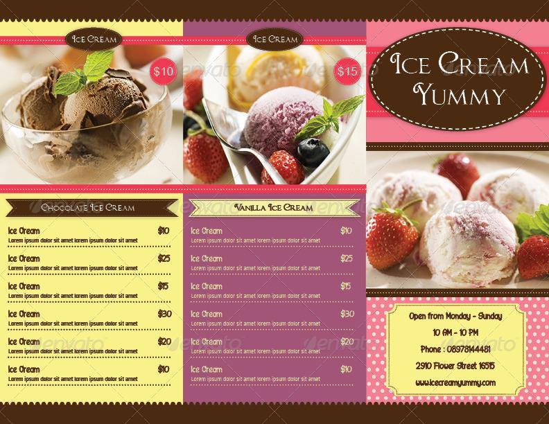 TriFold Ice Cream Menu Template by avindaputri | GraphicRiver