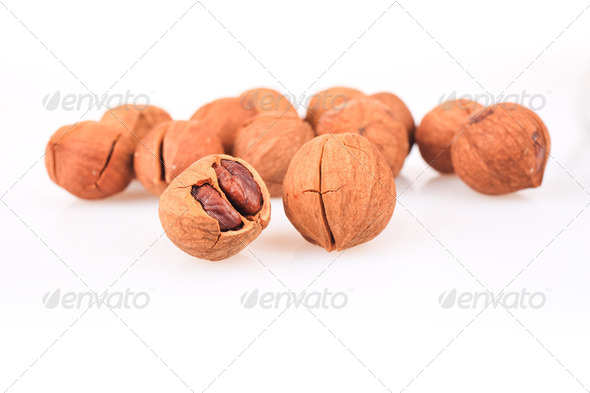 closeup of the pecan nuts - Stock Photo - Images