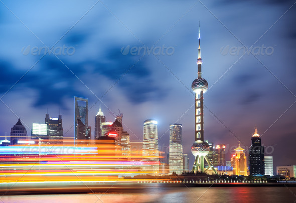 the beautiful night view in shanghai - Stock Photo - Images