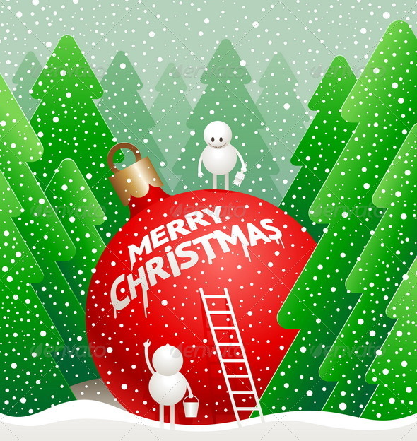 Christmas Illustration - Snowman write a greeting - Christmas Seasons/Holidays