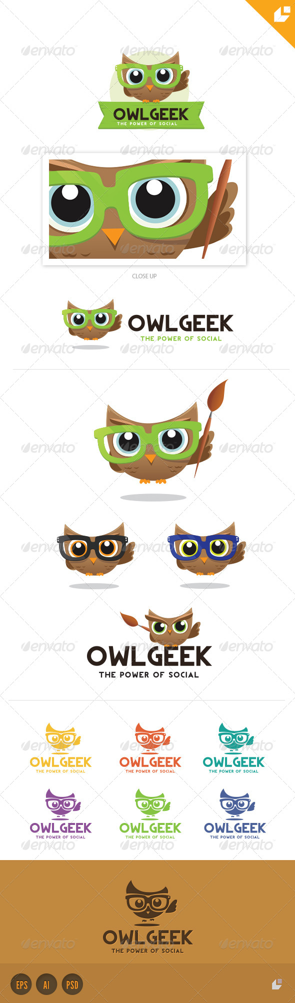 Owl Geek Logo - Crests Logo Templates