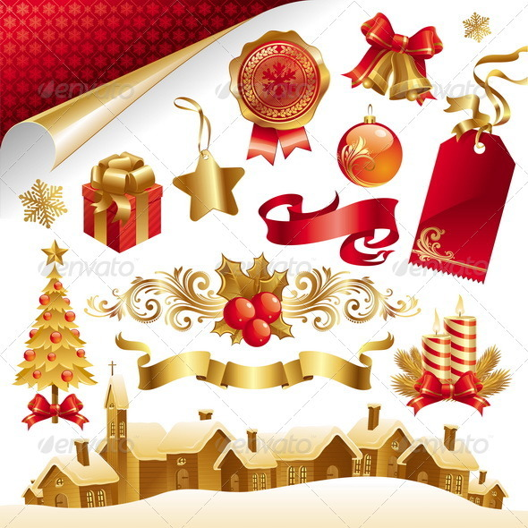 Vector Set With Christmas Symbols And Objects - Christmas Seasons/Holidays