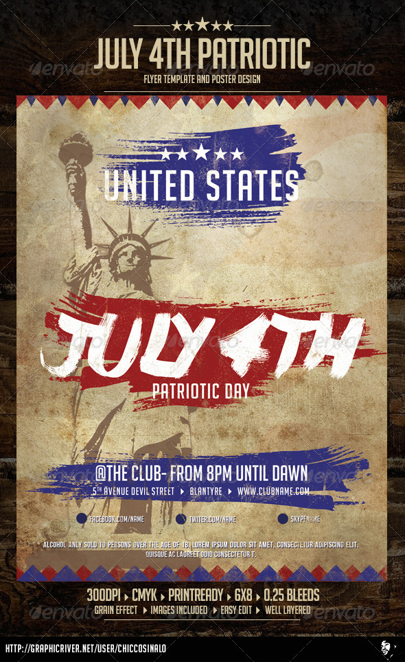July patriotic 4th flyer template by chiccosinalo for 4th of july menu template