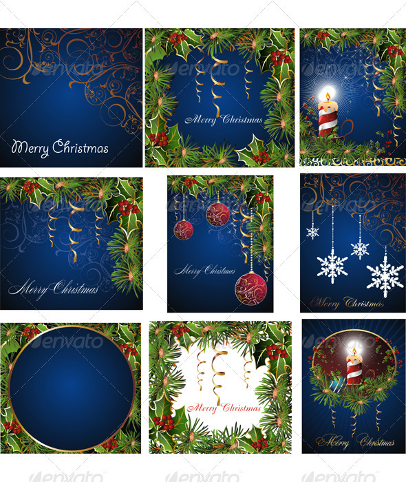 Set of Christmas Cards. - Christmas Seasons/Holidays