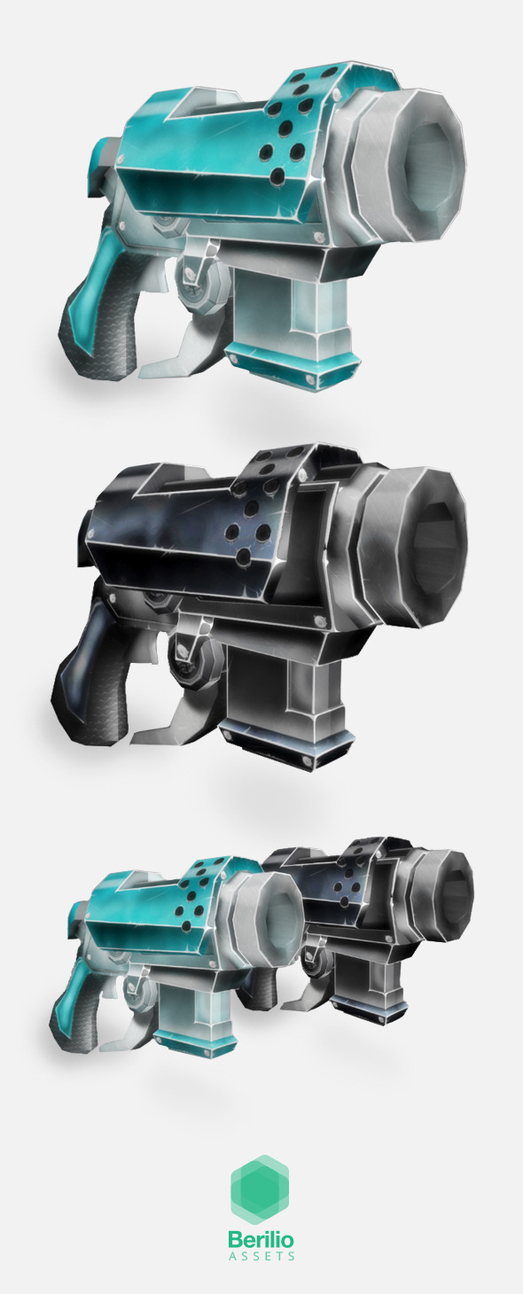 Low Poly Cartoonish Sci-Fi Pistol - 3DOcean Item for Sale