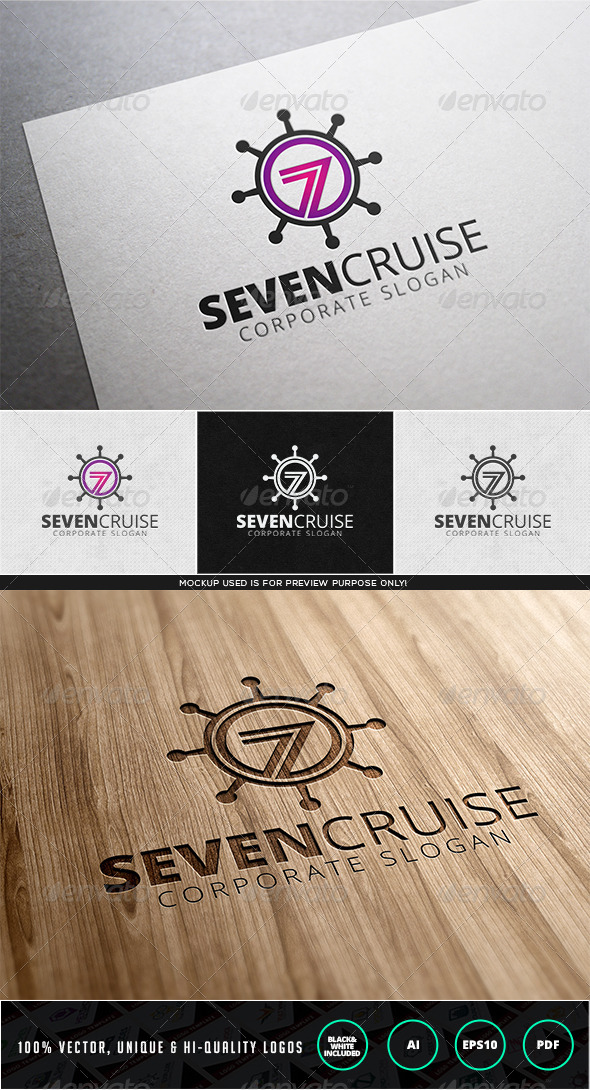 Seven Cruise Logo Template - Numbers Logo Templates