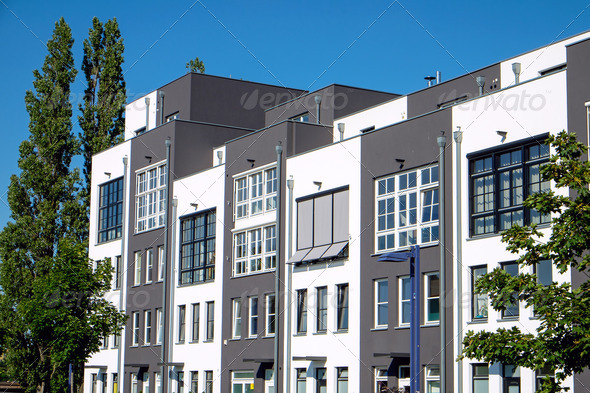 Modern terraced housing - Stock Photo - Images
