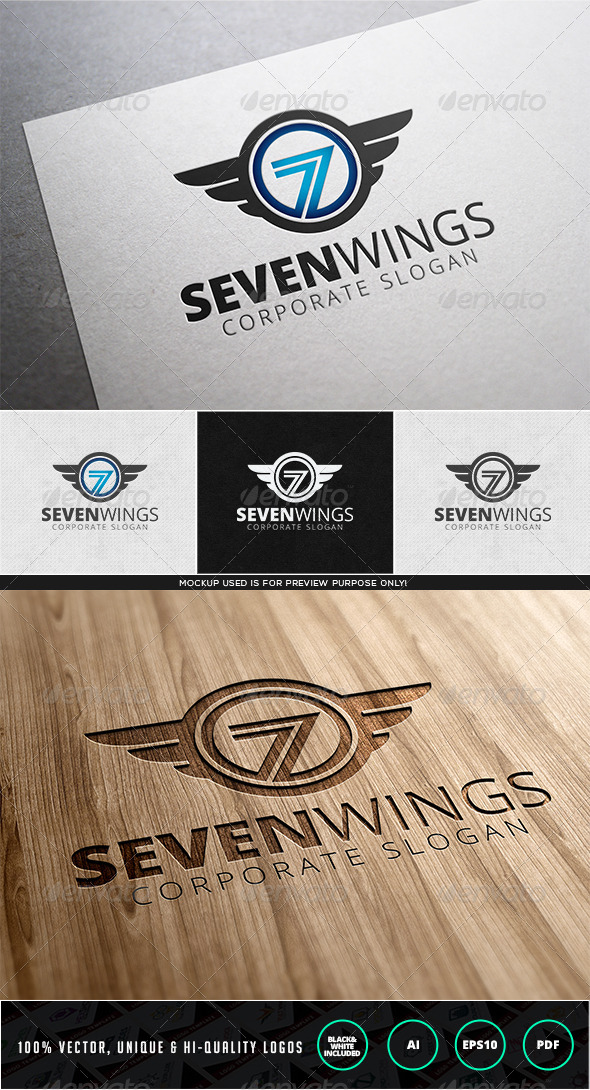 Seven Wings Logo Template - Numbers Logo Templates