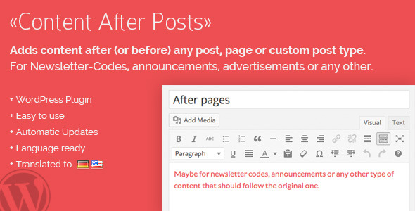 Content After Posts WordPress Plugin - CodeCanyon Item for Sale