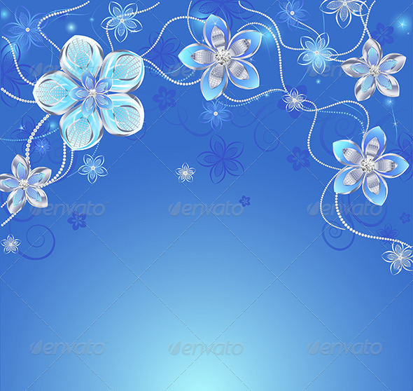 blue background with silver flowers by blackmoon9