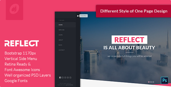 Reflect – Single Page PSD Template