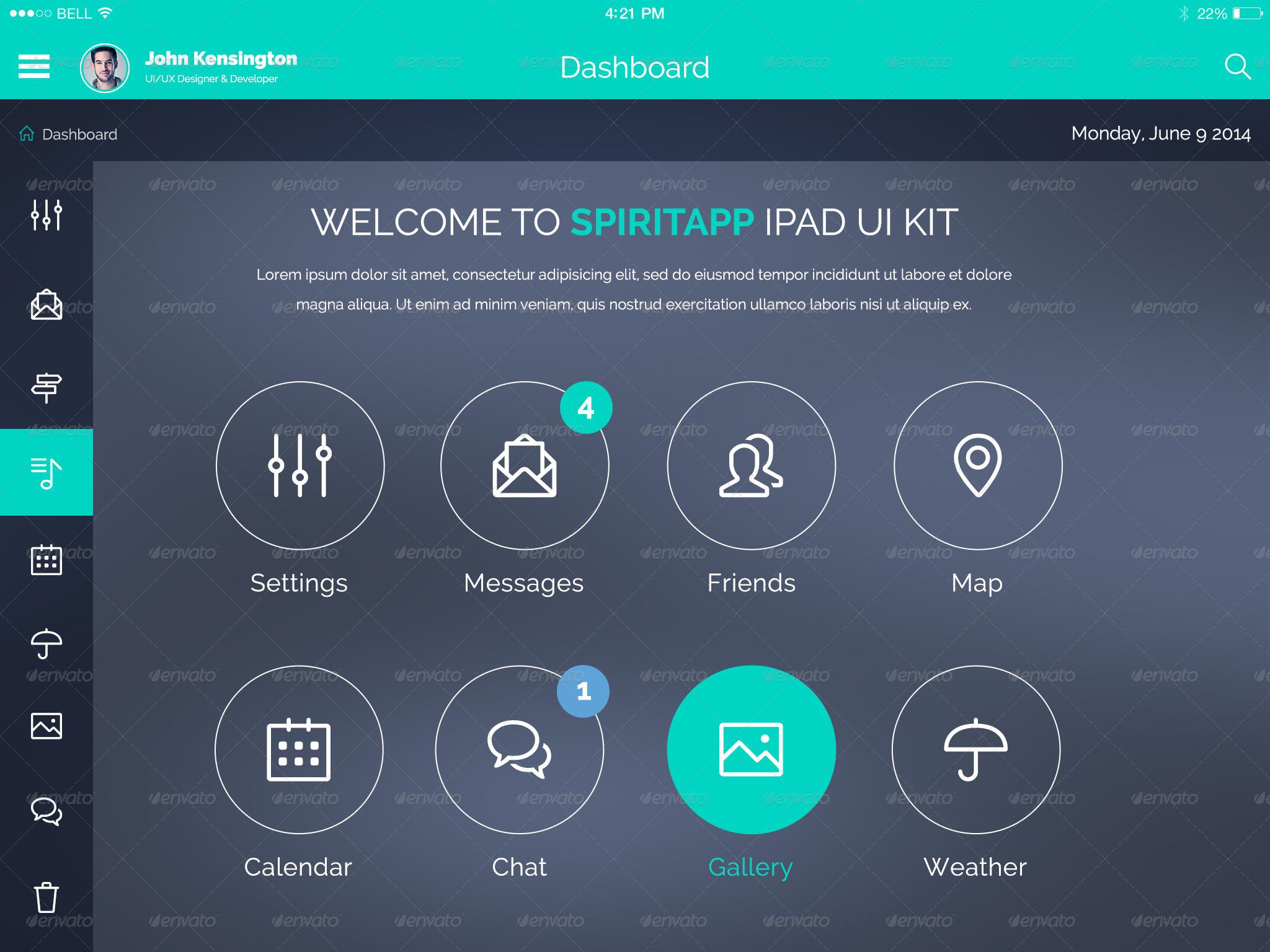 Spiritapp Flat Ipad App Ui Kit By Creakits Graphicriver
