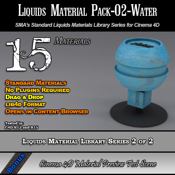 Standard Liquids Material Pack-02-Water for C4D - 3DOcean Item for Sale
