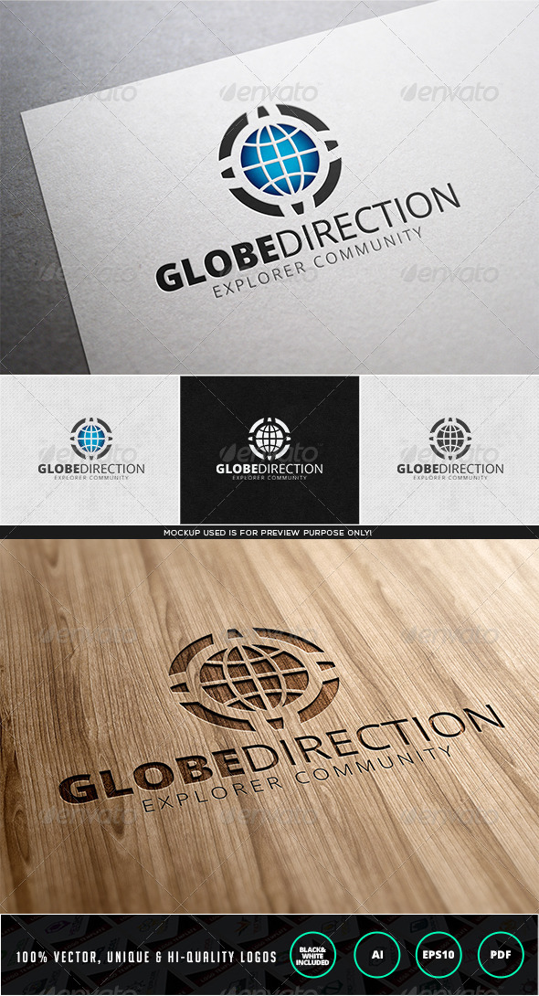 Globe Direction Logo Template - Objects Logo Templates