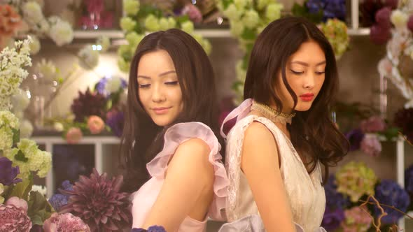 VideoHive Florists Asian Women Happy Working in Flower Store 20022659