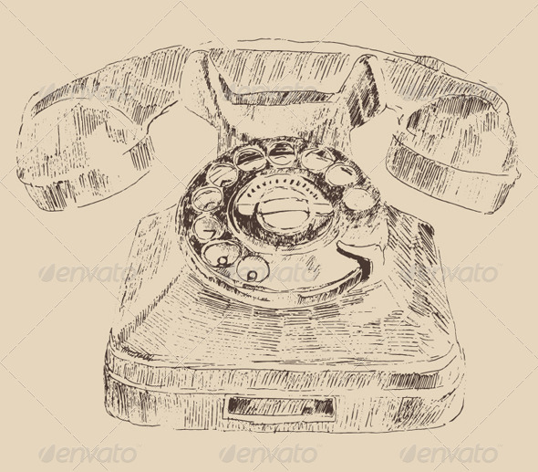 Retro Telephone Vintage Illustration, Engraving - Man-made Objects Objects