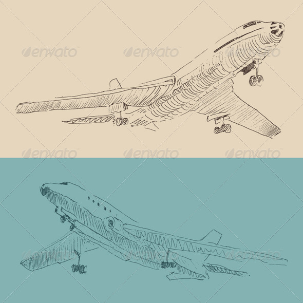Airplane Vintage Illustration, Engraved Retro Style - Man-made Objects Objects