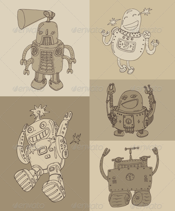 Cute Robot Set, Robot Toy Icon Vector Illustration - Characters Vectors
