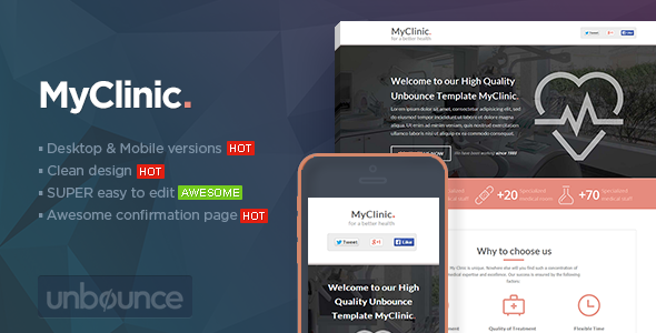 MyClinic – Medical Unbounce Template