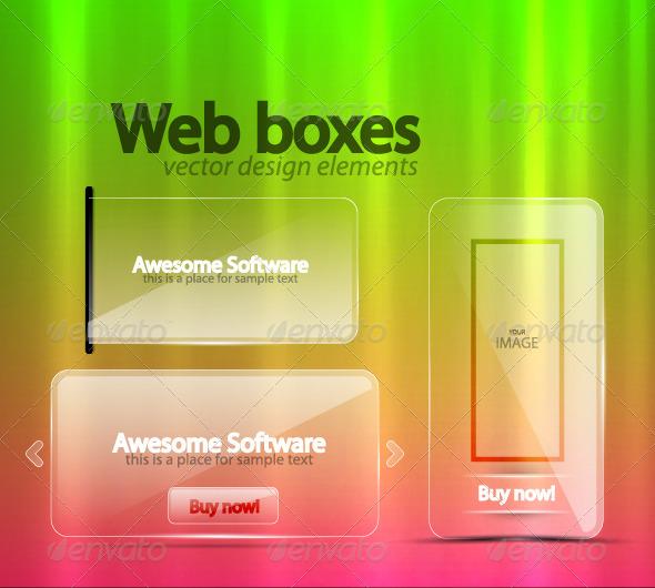 Transparent Web Boxes - Web Elements Vectors