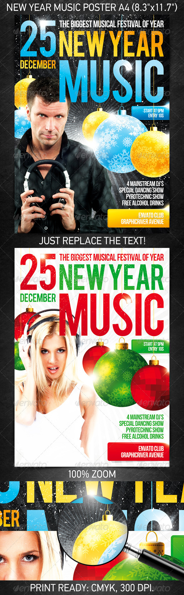 New Year music poster - Clubs & Parties Events