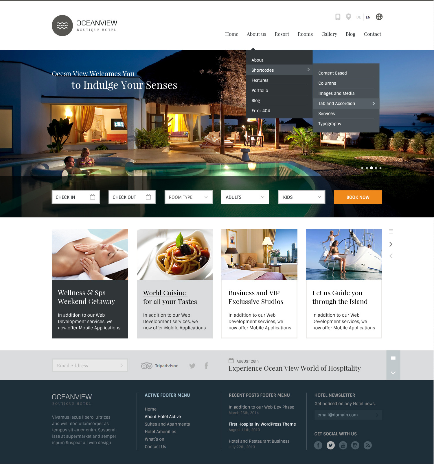 ocean view hotel website html template by basepixels