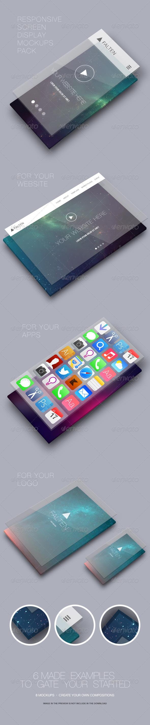 Responsive Screen Display Mockups Pack - Miscellaneous Displays