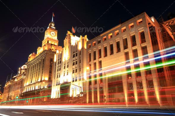 beautiful night view of shanghai - Stock Photo - Images