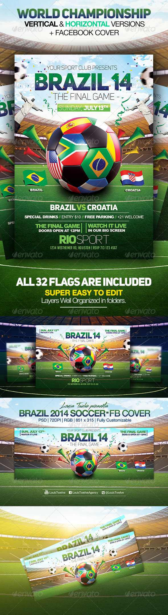 World Championship 2014 | Flyers + FB Cover V2 - Sports Events
