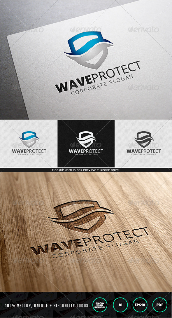 Wave Protect Logo Template - Objects Logo Templates
