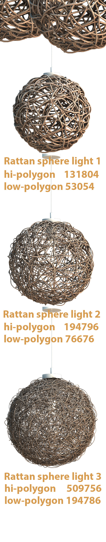 Sphere Rattan Light - 3DOcean Item for Sale