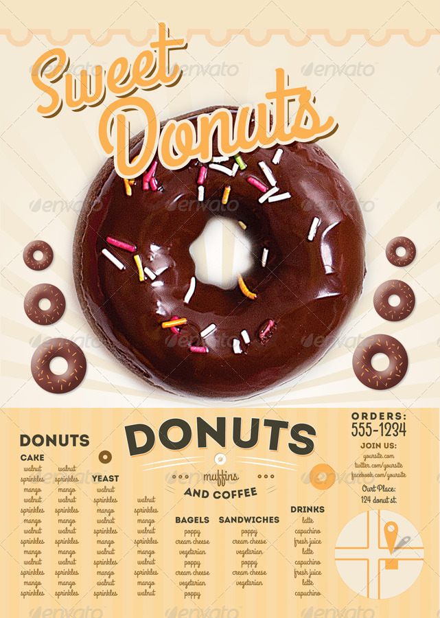 sweet donuts flyer and menu template by thefaint