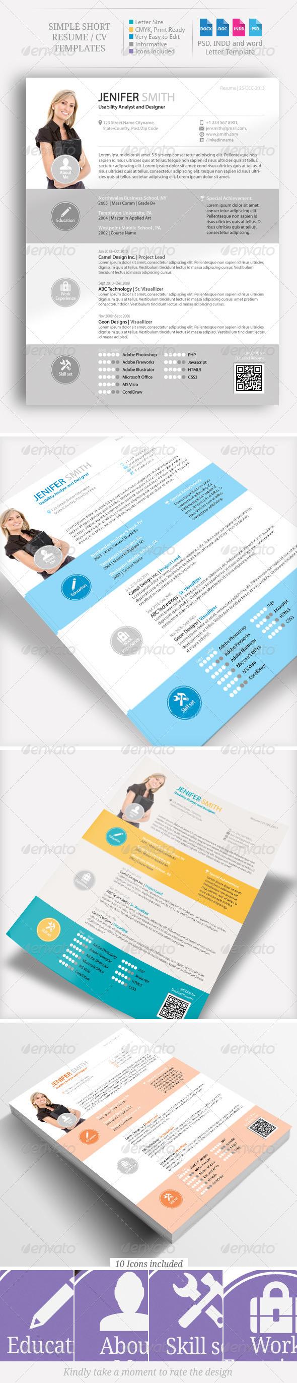 Simple Short CV, Resume Set - Resumes Stationery