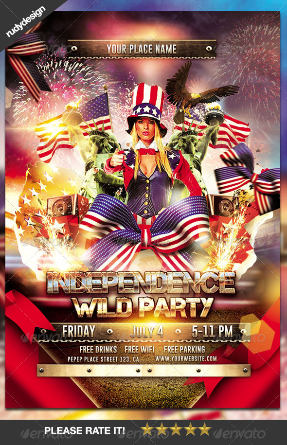 Independence Day Party Flyer By Rudydesign  Graphicriver