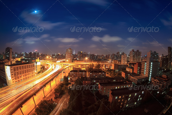 elevated road at night - Stock Photo - Images