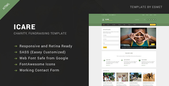 ICARE - Nonprofit, Fundraising HTML Template - Charity Nonprofit
