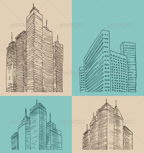 City Architecture Vintage Engraved Illustration - Buildings Objects