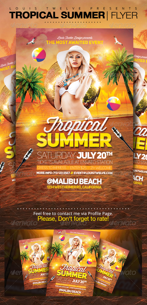 Tropical Summer Party | Flyer Template - Clubs & Parties Events