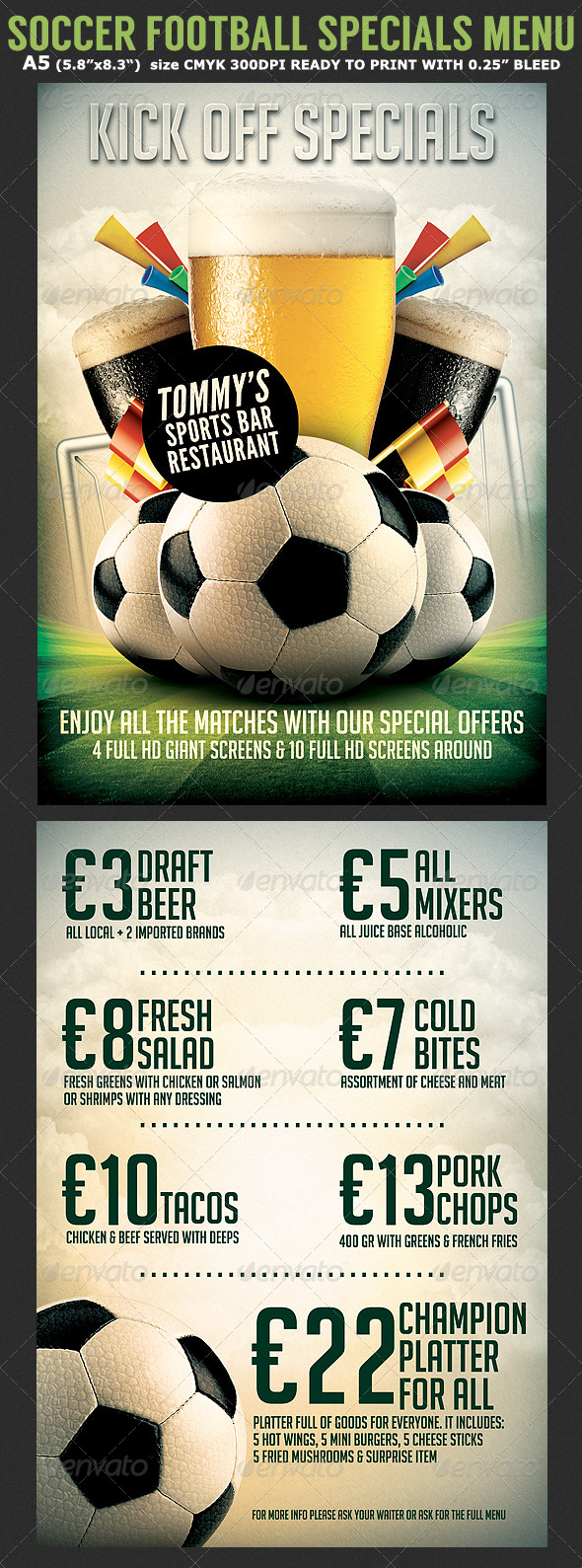 soccer football bar flyer menu template by hotpin graphicriver. Black Bedroom Furniture Sets. Home Design Ideas