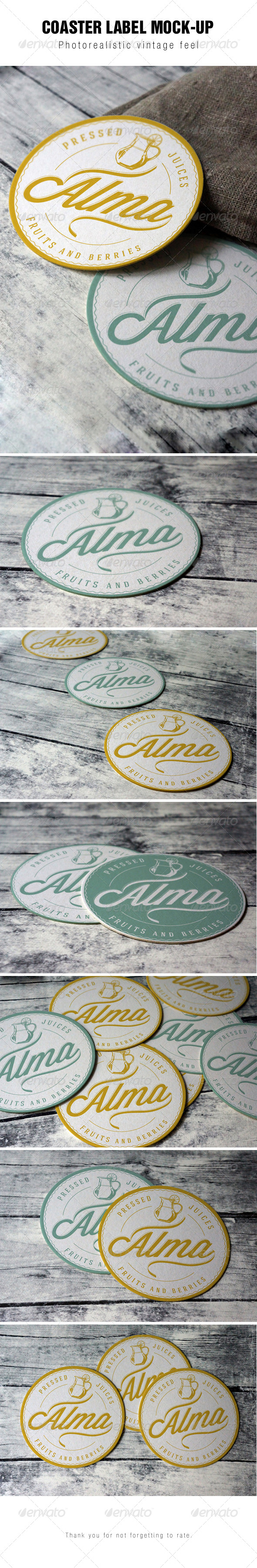 Coaster Round Label Mockup