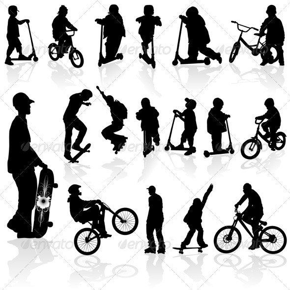 Silhouettes children and man - Sports/Activity Conceptual