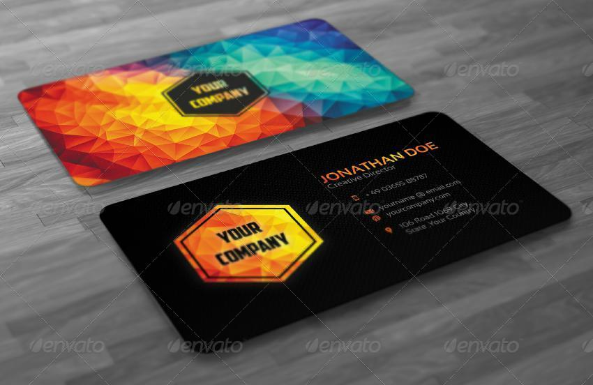 Creative Modern Polygon Business Card By Badbugs GraphicRiver - Graphic design business card templates