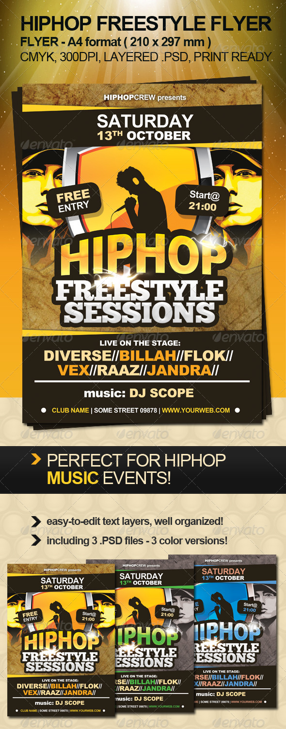 Hiphop Freestyle Flyer - Clubs & Parties Events