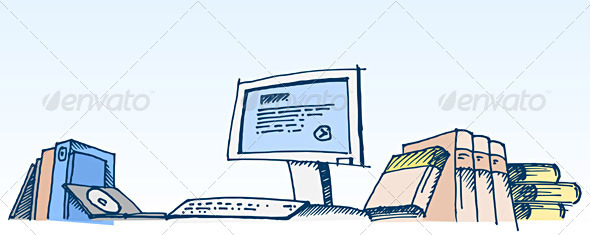 Sketch of a Computer Illustration - Computers Technology