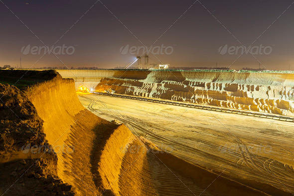 Pit Mine Wall At Night - Stock Photo - Images