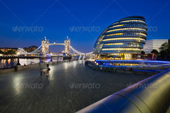 Tower Bridge in London at night - Stock Photo - Images