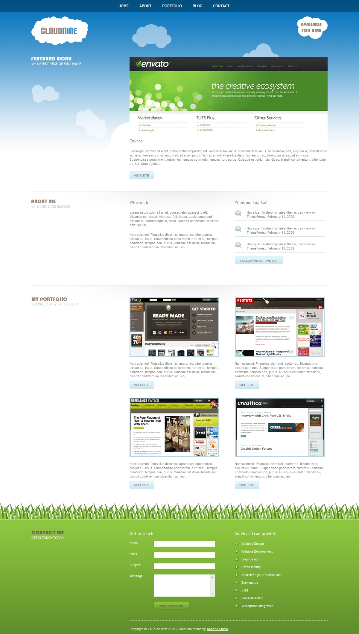 Free Download CloudNine - jQuery Powered Portfolio Template Nulled Latest Version